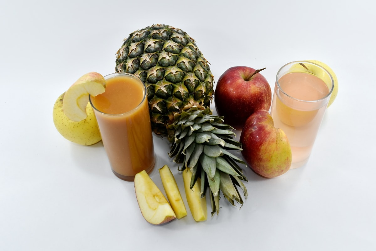apples, exotic, fruit cocktail, organic, pineapple, syrup, tropical, still life, apple, fruit