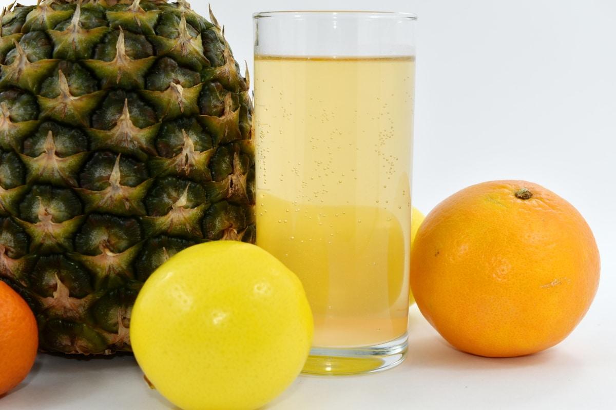 beverage, bubble, glass, lemon, lemonade, orange peel, orange yellow, vegan, whole, juice