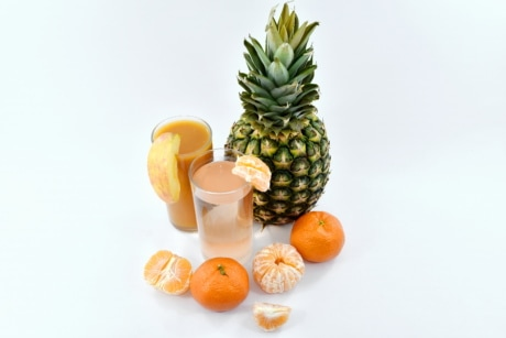 delicious, fresh water, fruit juice, mandarin, pineapple, syrup, vitamin, food, produce, fruit