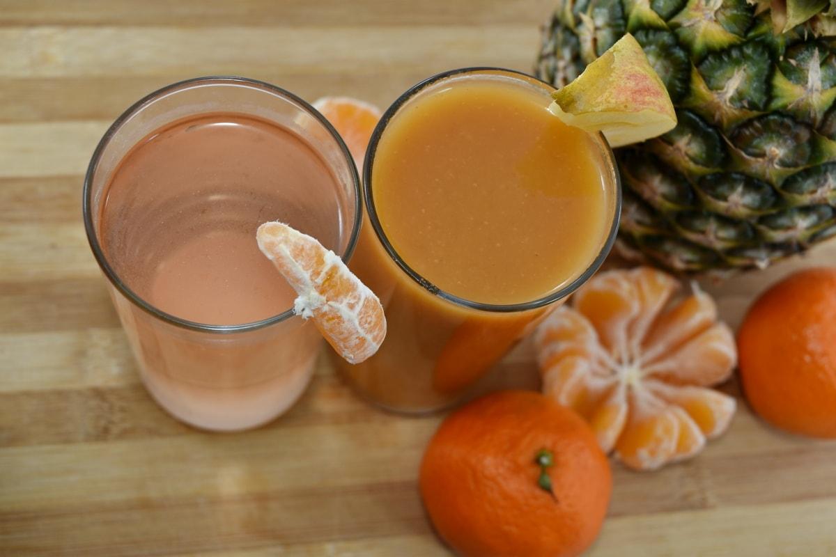 koktajle, koktajl owoców, sok owocowy, Lemoniada, ananas, syrop, sok, śniadanie, owoce, jedzenie