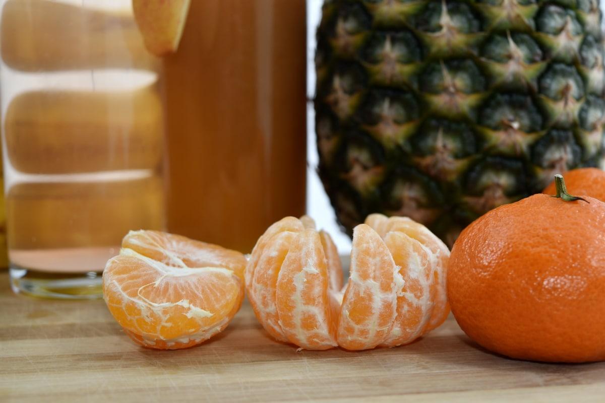 juice, mandarin, orange, citrus, fruit, pineapple, food, produce, health, wood