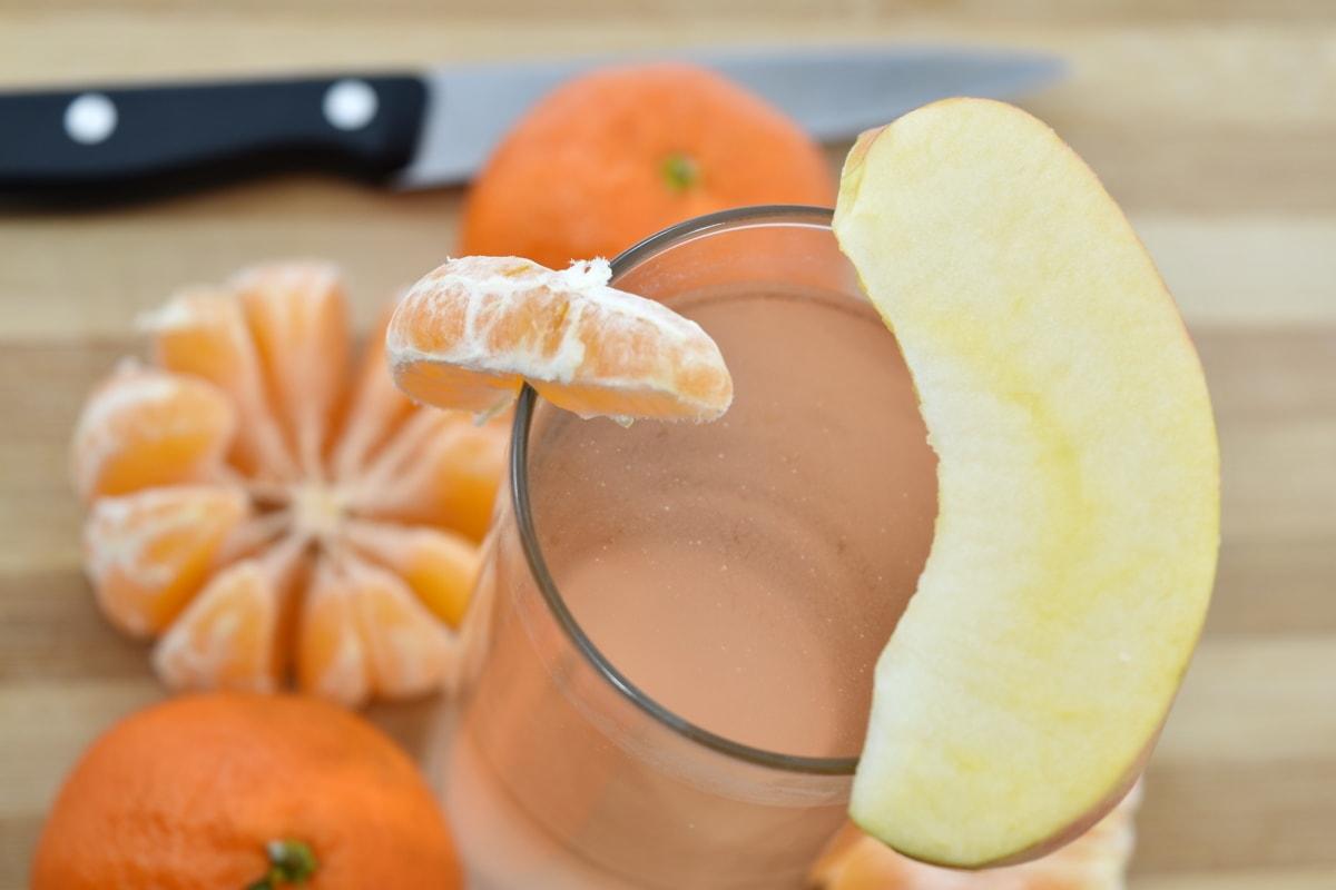 apple, breakfast, knife, mandarin, orange, slices, fruit, ingredients, wood, juice