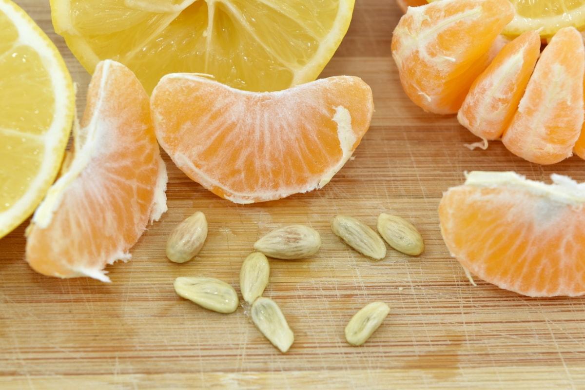 lemon, seed, slices, tangerine, fruit, citrus, health, food, mandarin, wood