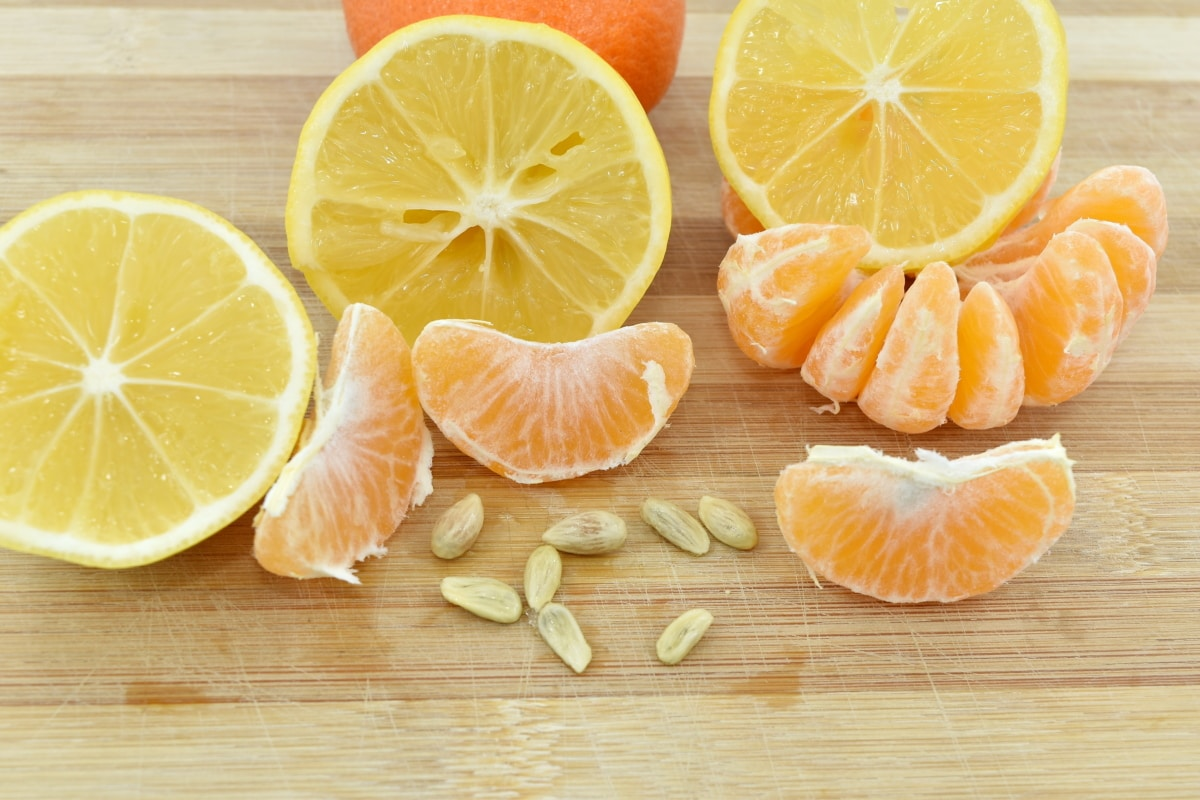 lemon, mandarin, seed, slices, food, fresh, vitamin, fruit, orange, citrus