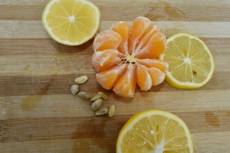fruit, lemon, orange, organ, seed, slices, wood, food, produce, juice