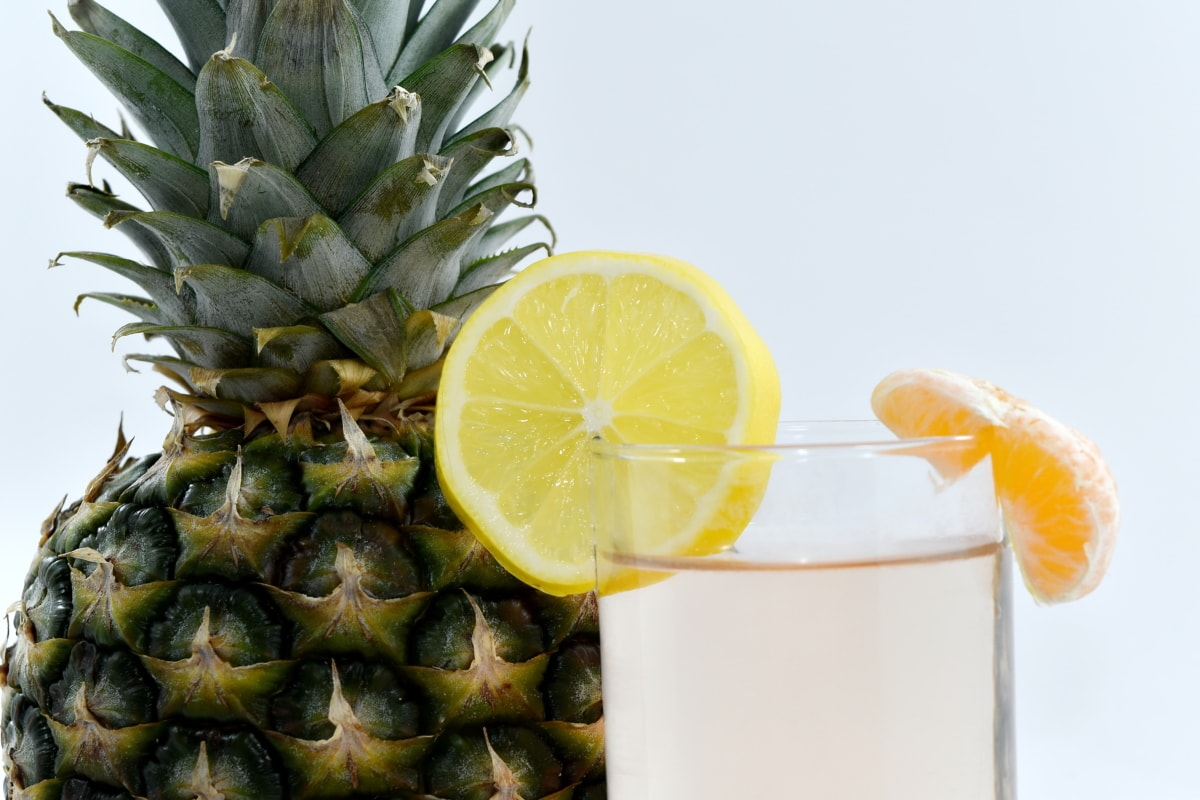 cocktail, lemonade, mandarin, pineapple, juice, citrus, produce, tropical, food, lemon