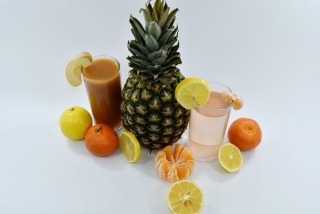 cocktails, fruit cocktail, fruit juice, pineapple, tangerine, fruit, vitamin, produce, food, juice