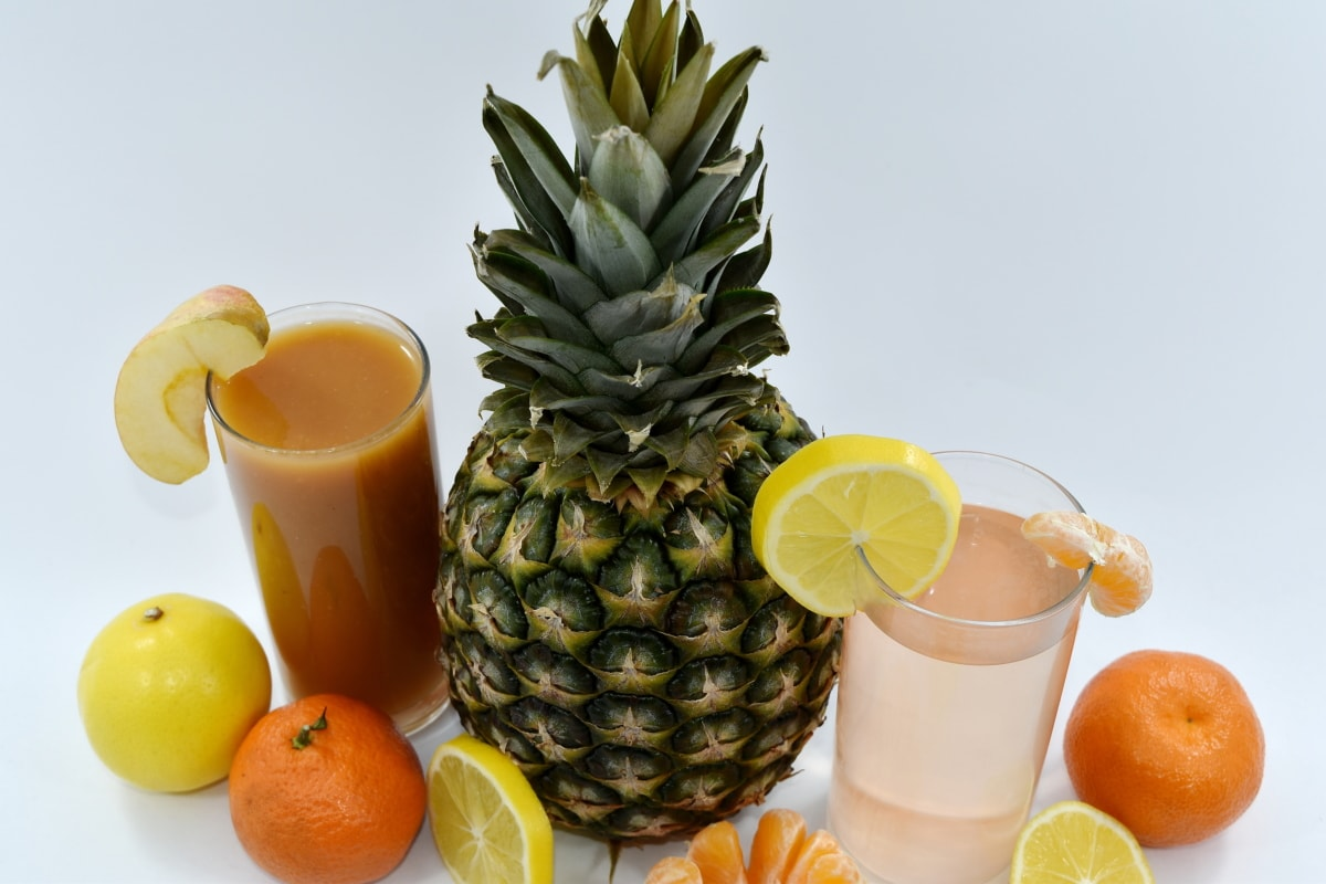 citrus, cocktails, lemonade, mandarin, pineapple, syrup, tangerine, fruit, juice, food