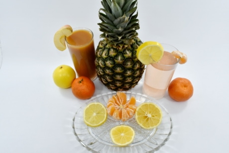 dietary, fruit cocktail, fruit juice, healthy, lemon, lemonade, pineapple, syrup, vegan, food