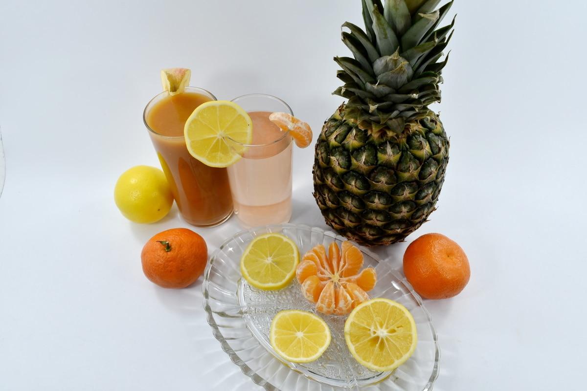 breakfast, dietary, fruit cocktail, fruit juice, healthy, lemonade, syrup, vitamin, pineapple, fruit