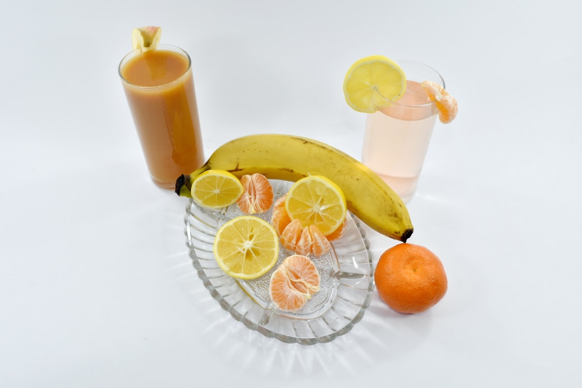 banana, breakfast, fruit cocktail, fruit juice, homemade, lemon, lemonade, meal, syrup, tropical