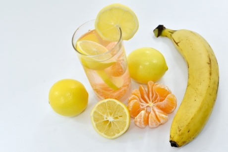 banana, cocktail, fruit juice, lemon, lemonade, vegetarian, citrus, juice, orange, fruit