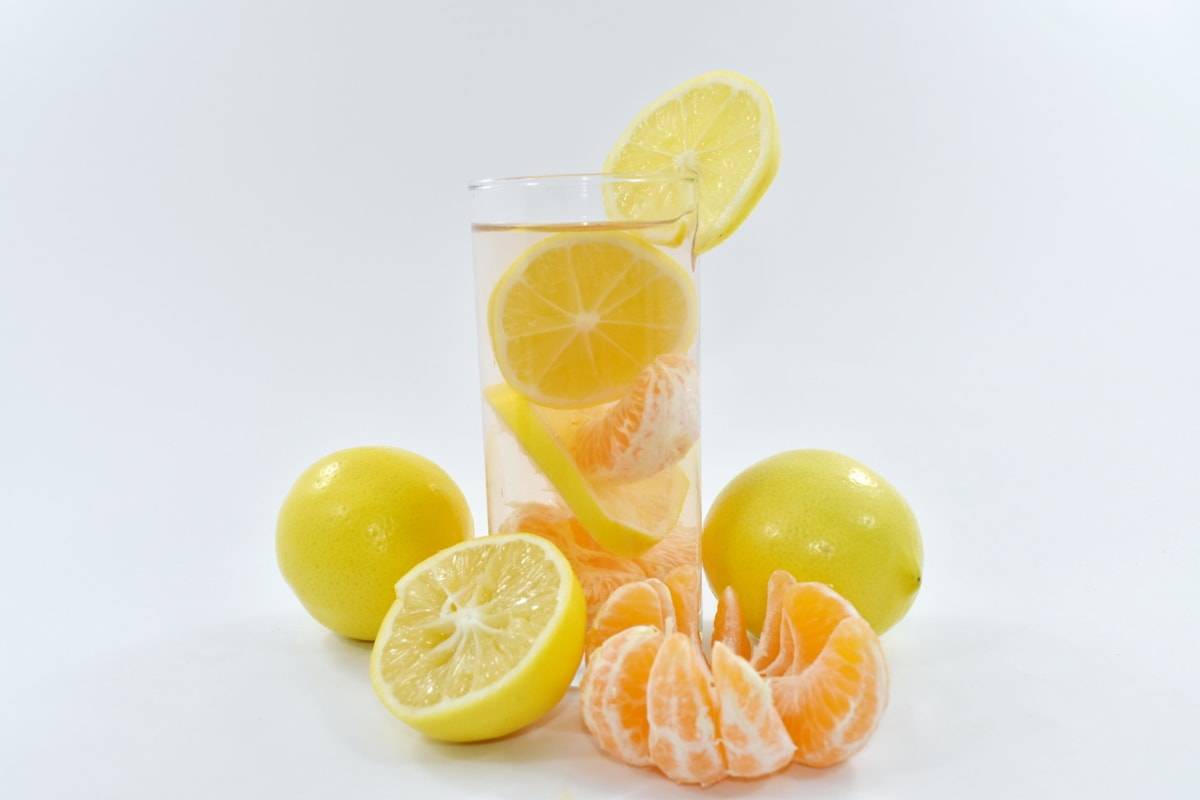 diet, fresh water, lemon, lemonade, nutrition, organic, tangerine, orange, fruit, juice