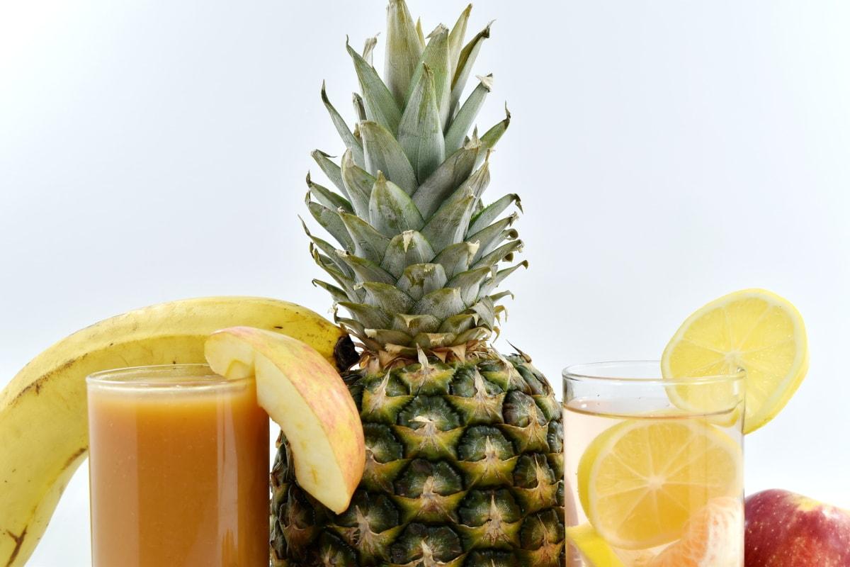 napoje, deser, cytryna, Lemoniada, tropikalny, owoce, produkcji, ananas, sok, jedzenie