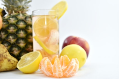 cocktails, lemon, lemonade, pear, slices, tangerine, orange, tropical, food, healthy