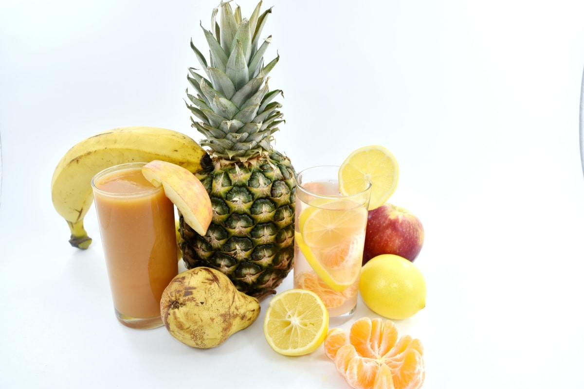 fruit cocktail, fruit juice, pear, pineapple, syrup, sweet, fresh, produce, tropical, fruit