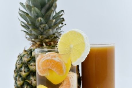 drink, glass, lemonade, orange, syrup, underwater, citrus, produce, vitamin, food