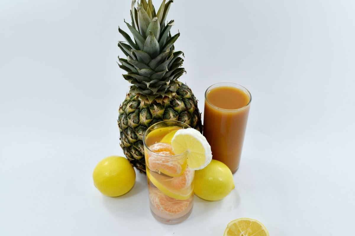 fruit cocktail, fruit juice, lemon, lemonade, pineapple, food, produce, juice, fruit, tropical