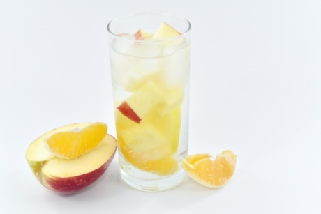 apples, fruit juice, grapefruit, ice crystal, liquid, mango, slices, glass, drink, cold