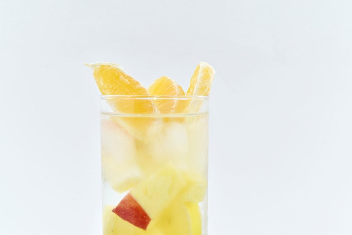 cold water, fresh, fruit juice, ice crystal, mandarin, tropical, cold, glass, juice, fruit
