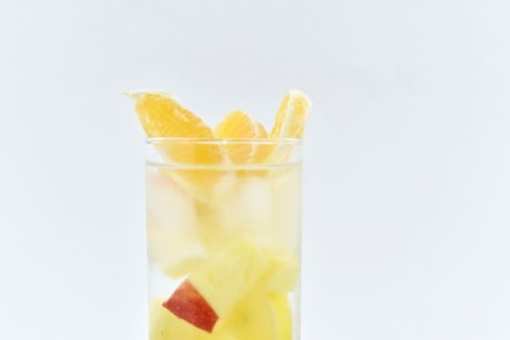 cold water, fresh, fruit juice, ice crystal, mandarin, tropical, cold, glass, juice, fruit