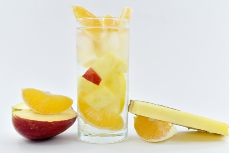 apple, fruit cocktail, fruit juice, mango, pineapple, slices, fruit, drink, glass, juice