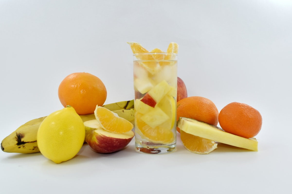 banana, citrus, cold water, fruit cocktail, oranges, pineapple, sweet, healthy, orange, fruit