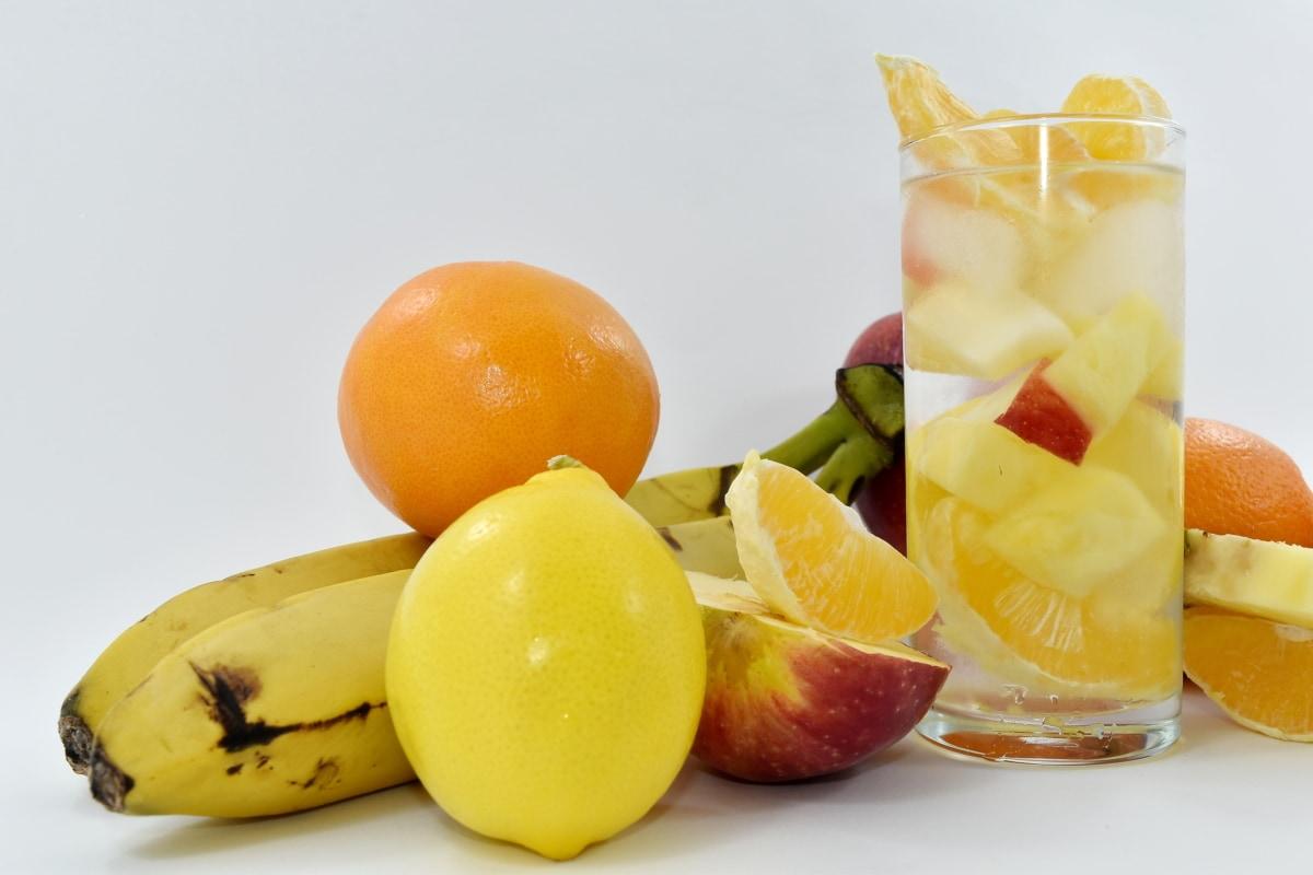 apple, banana, cold water, exotic, fruit juice, lemon, lemonade, food, sweet, vitamin