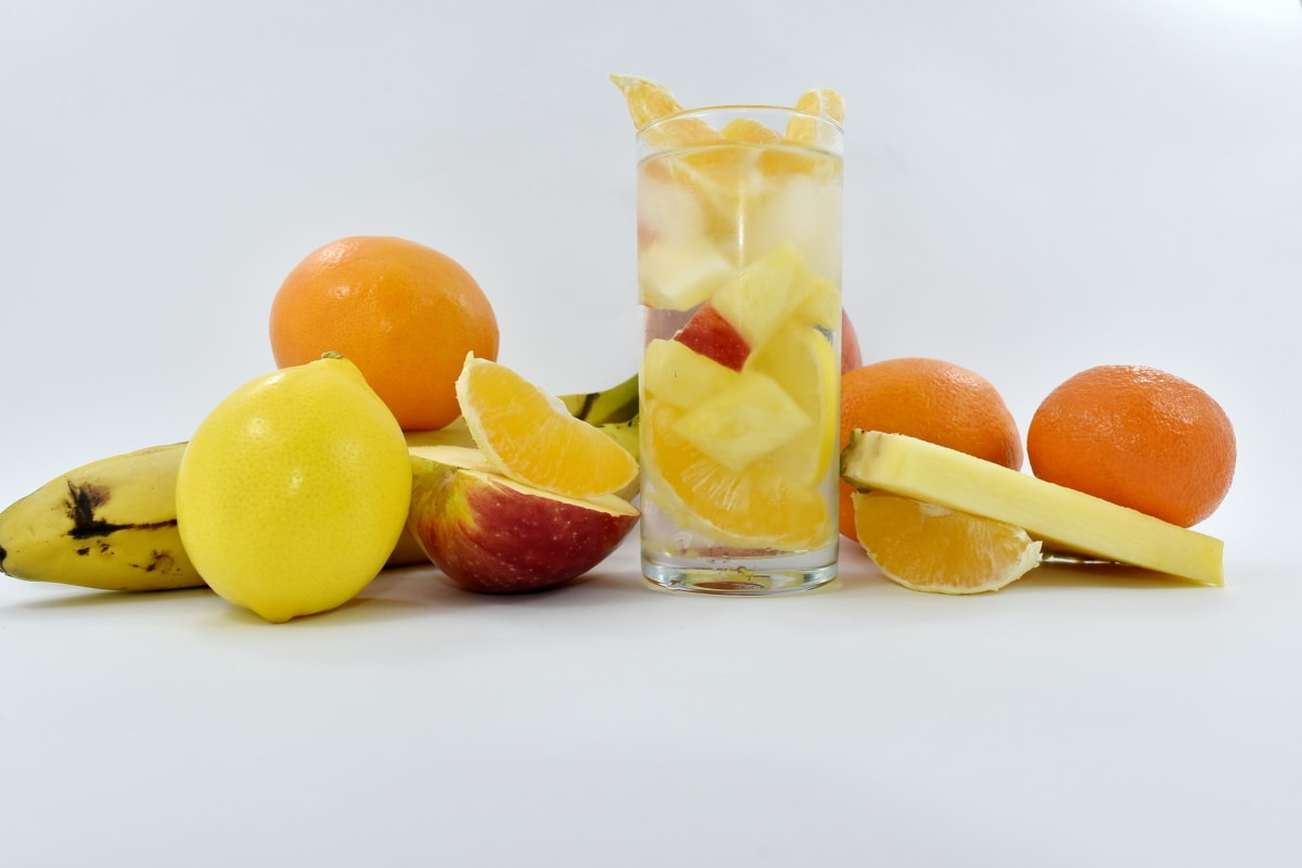 exotic, fruit cocktail, fruit juice, mandarin, pineapple, slice, tropical, healthy, juice, citrus