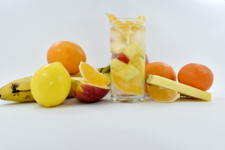 exotic, fruit cocktail, fruit juice, mandarin, pineapple, slice, tropical, healthy, juice, citrus