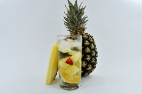 cold water, drinking straw, fresh water, fruit cocktail, fruit juice, pineapple, produce, still life, fruit, food