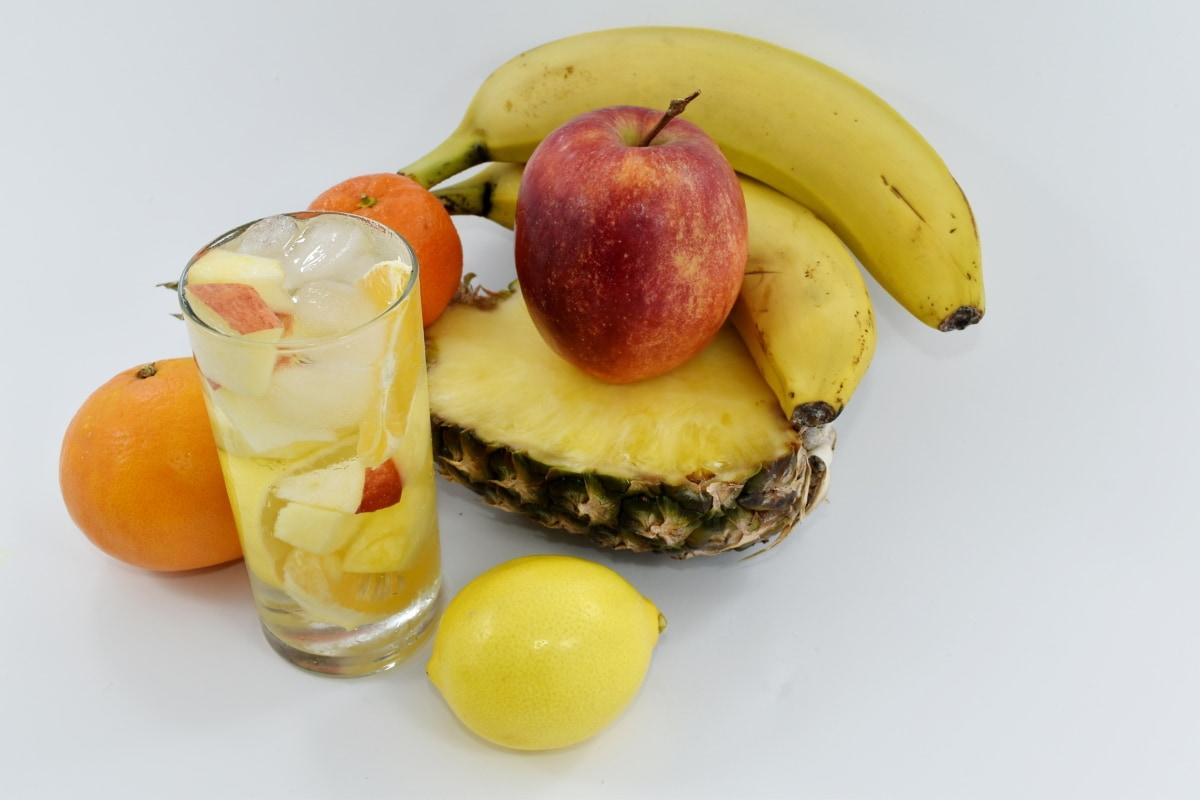 apple, banana, beverage, fruit juice, ice crystal, lemonade, mango, pineapple, diet, fresh