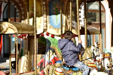 boy, child, childhood, riding, people, carousel, mechanism, carnival, ride, street