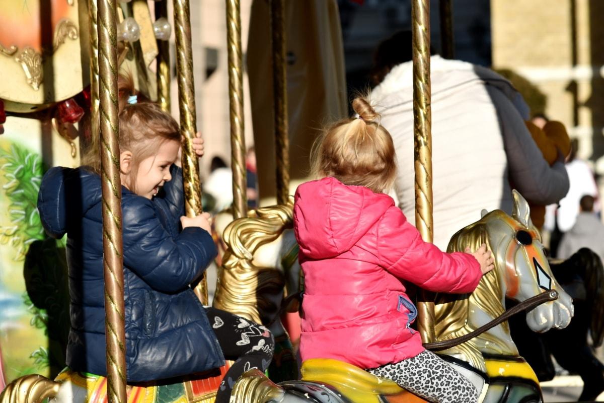 childhood, friendship, fun, girls, togetherness, carousel, mechanism, enjoyment, entertainment, ride