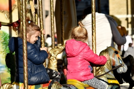 childhood, friendship, fun, girls, togetherness, carousel, mechanism, enjoyment, entertainment, ride