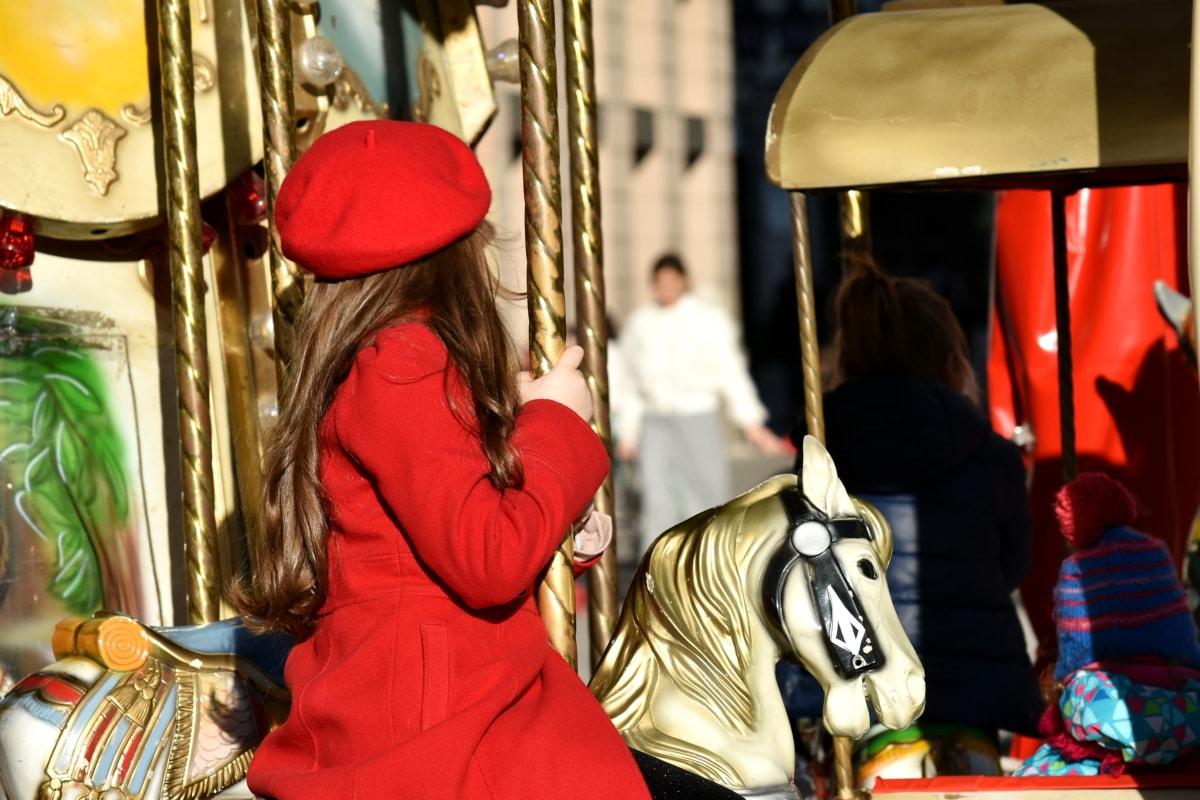 beautiful, carnival, carousel, child, elegant, hat, toy, people, festival, street