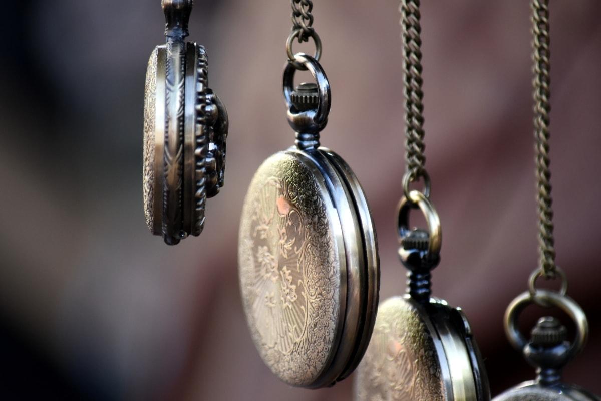 analog clock, brass, hanging, pocket watch, jewelry, antique, chain, chrome, old, retro