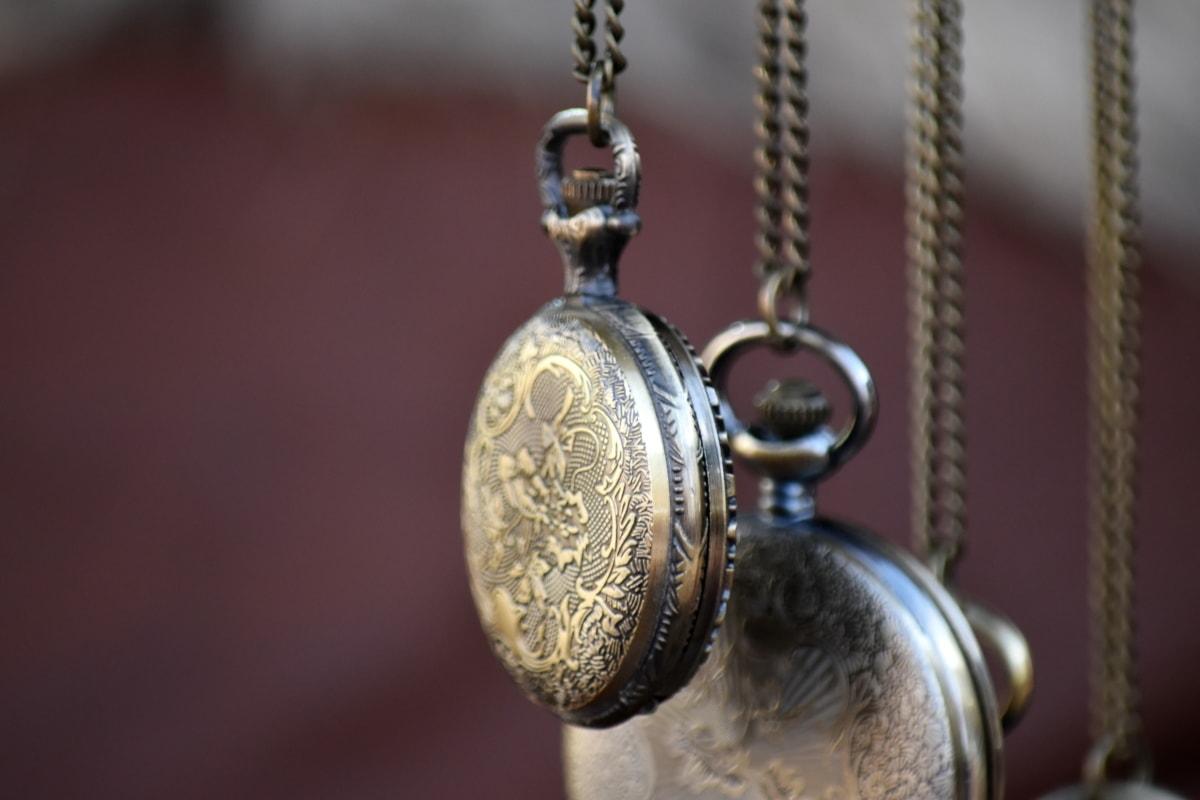 analog clock, pocket watch, brass, chain, antique, retro, shining, old, luxury, bronze