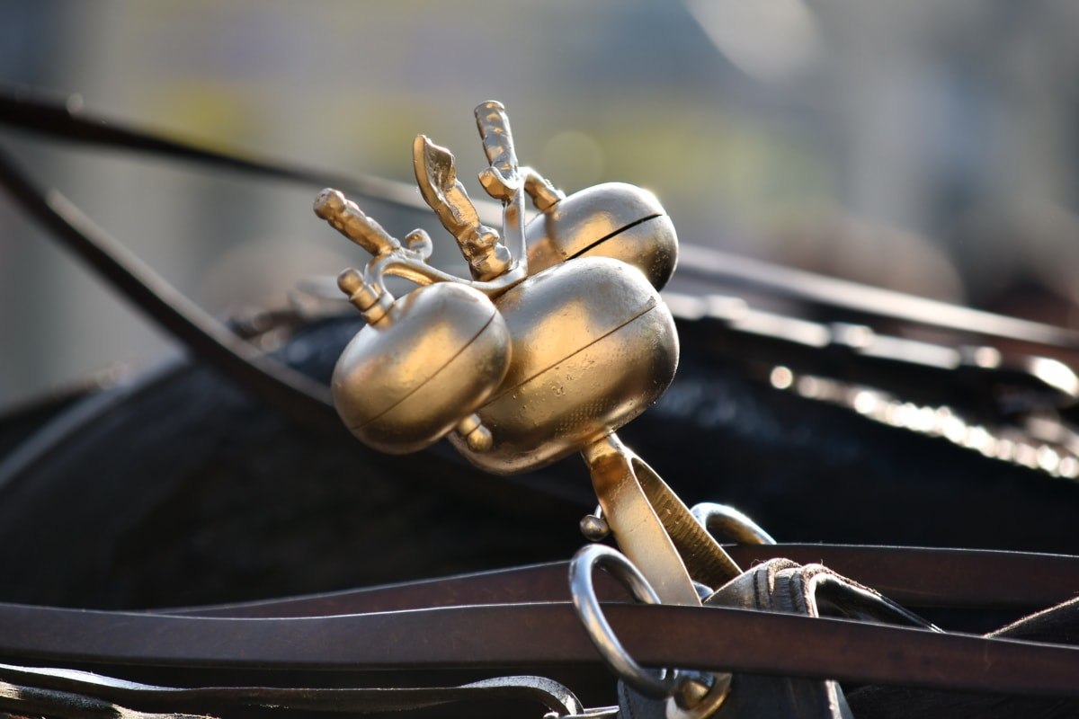 bells, brass, carriage, decoration, horses, vintage, antique, old, vehicle, classic