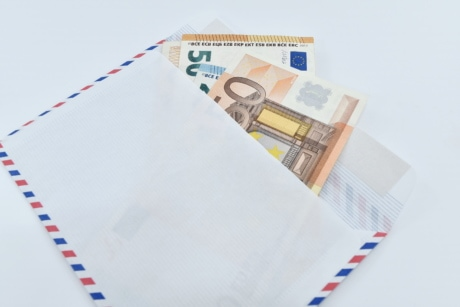 banknote, currency, envelope, gift, letter, message, paper money, notebook, document, money