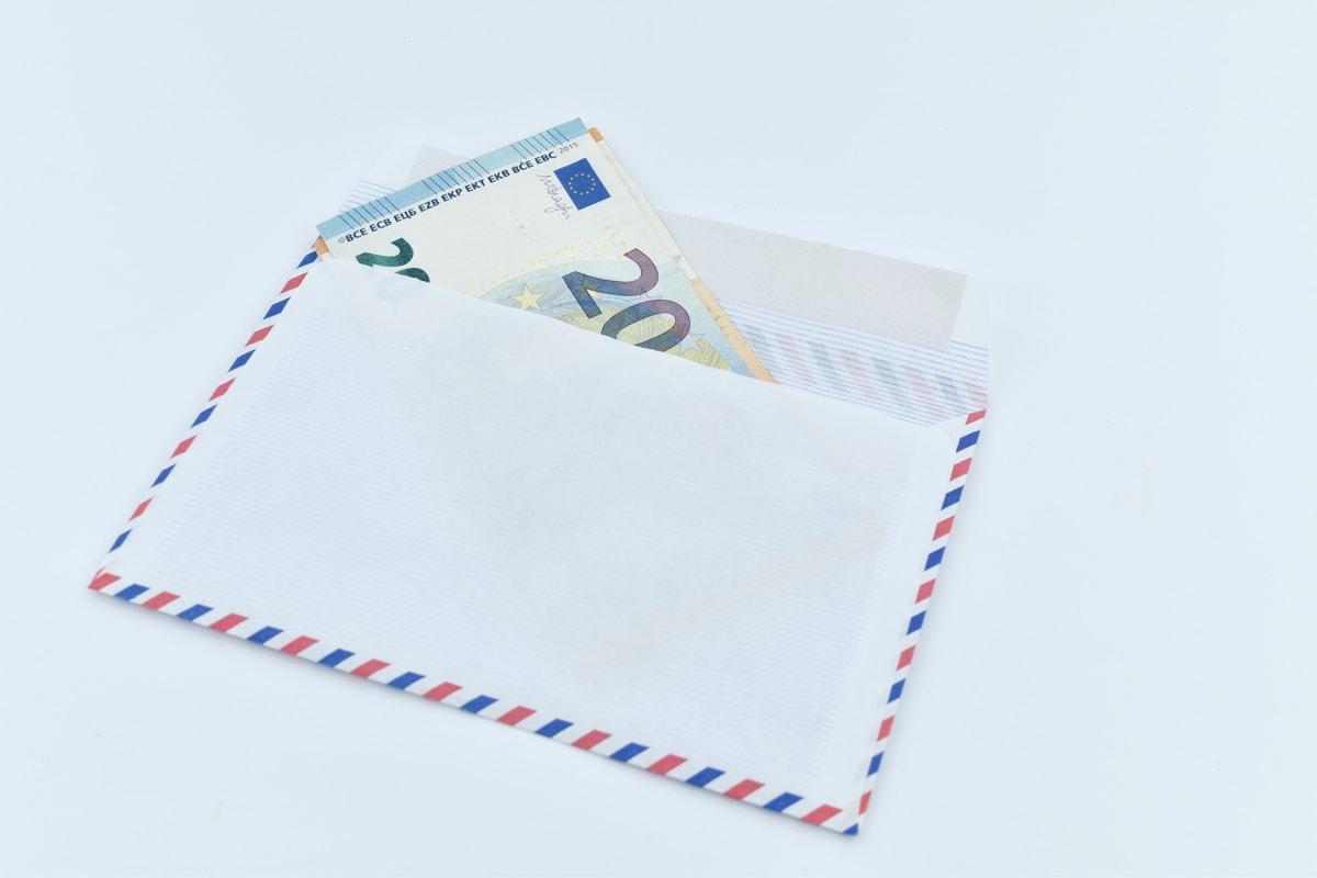 cash, envelope, euro, European, letter, paper money, twenty, union, paper, post