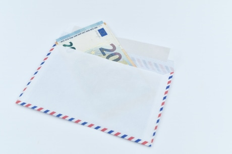 cash, envelope, euro, European, letter, paper money, twenty, union, paper, post