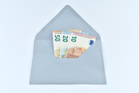 banknote, cash, currency, envelope, gift, letter, mail, paper money, post, container