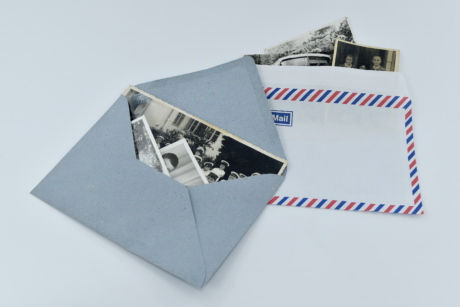enveloppe de, photo, lettre, courrier, message, Old-fashioned, photographie, papier, nature morte, illustration