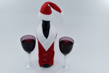 christmas, glasses, red wine, santa, glass, wine, liquid, drink, celebration, bottle