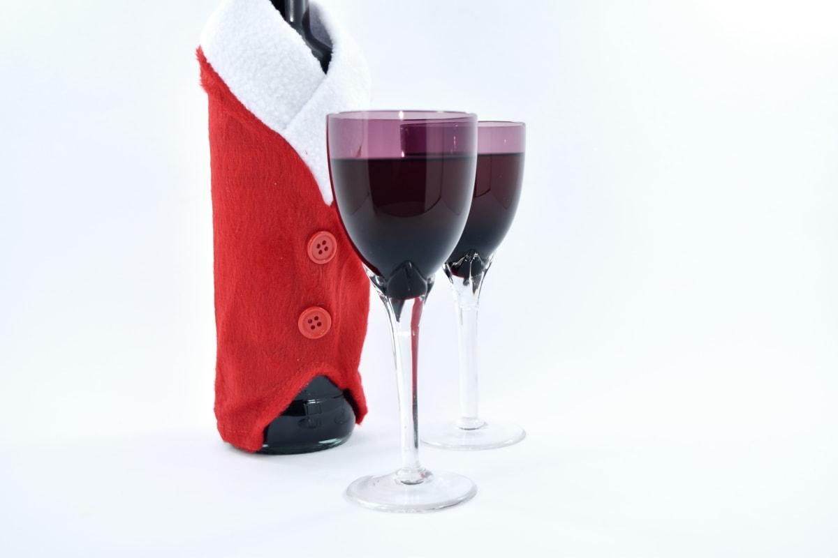 bottle, christmas, crystal, decoration, elegant, glass, party, red wine, santa, glasses