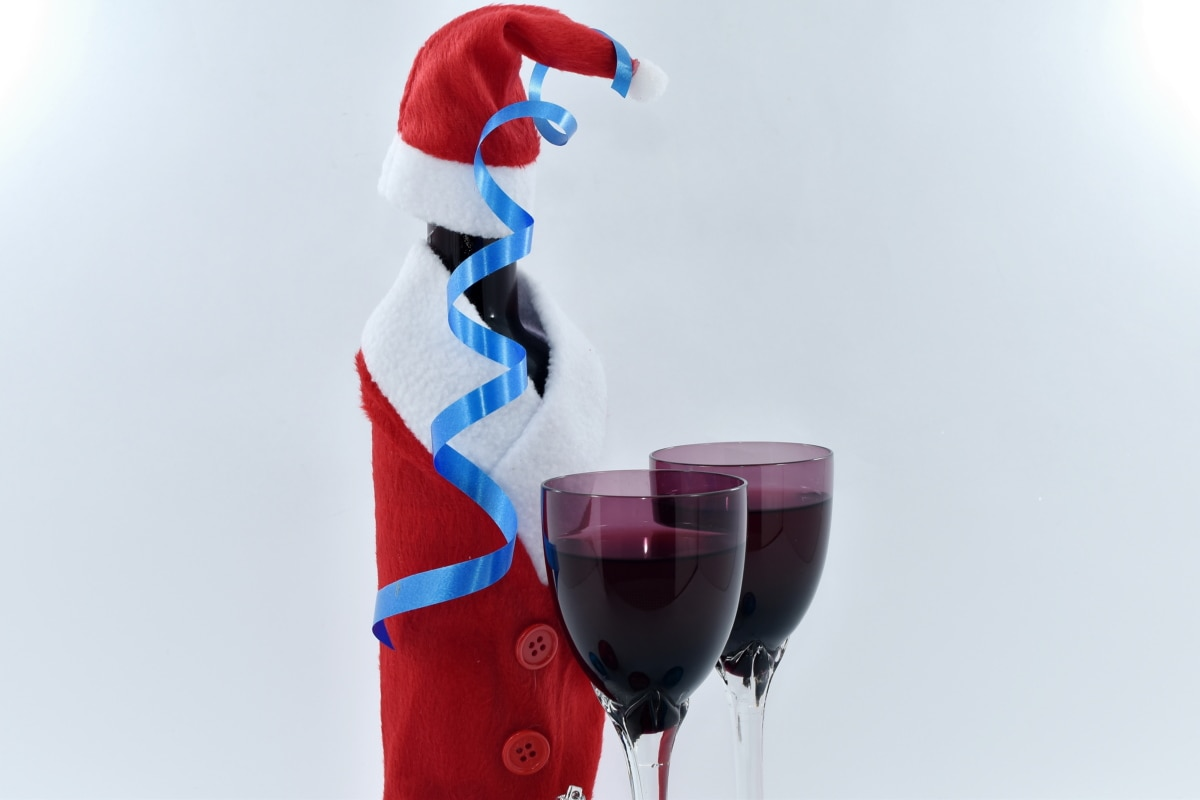 christmas, decoration, glass, red wine, ribbon, santa, drink, wine, beverage, alcohol