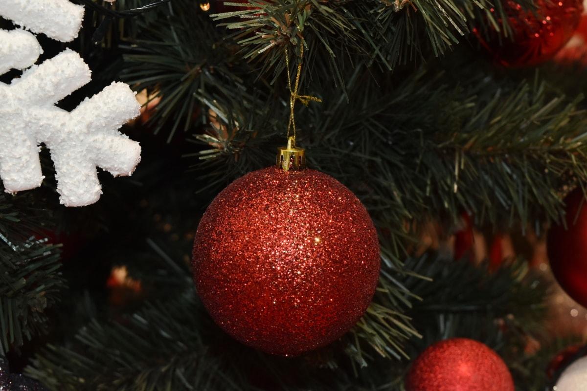 クリスマスツリー, 飾り, 赤, シャイニング ・, スノーフレーク, クリスマス, インテリア デザイン, 装飾, ぶら下げ, 針葉樹