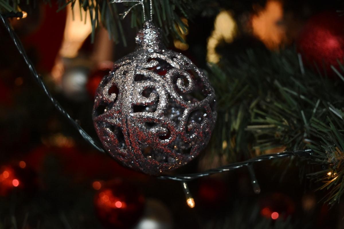 christmas, christmas tree, grey, lights, ornament, shining, sphere, tradition, wire, interior design