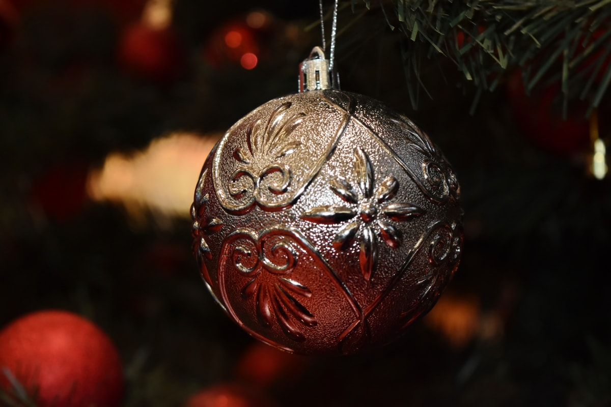 christmas tree, close-up, elegant, gift, hanging, luxury, ornament, round, shining, sphere